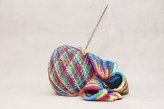 Woollen thread and knitting needle. Needlework accessories Stock Photos