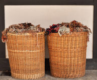 Woollen yarn baskets Stock Photos