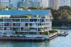 Woolloomooloo码头历史建筑有悉尼CBD视图 库存照片