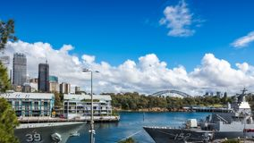 Woolloomooloo Bay at street level, Sydney Australia. Woolloomooloo Bay, Sydney, Australia -September 03, 2018: Woolloomooloo Bay Wharf with Royal Australian stock photos