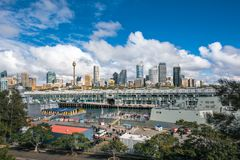 Sydney City Views at Woolloomooloo Bay. Woolloomooloo Bay, Sydney, Australia -September 03, 2018: Sydney City Views and at Woolloomooloo Bay with Royal Royalty Free Stock Images