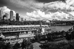 Salut to Sydney, Australia in black and white. Woolloomooloo Bay, Sydney, Australia -September 03, 2018: Sydney City Views in black and white at Woolloomooloo Royalty Free Stock Images