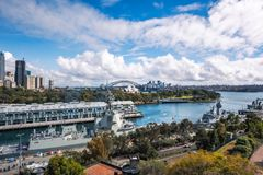 Woolloomooloo Bay and Sydney Views from above. Woolloomooloo Bay, Sydney, Australia -September 03, 2018: Sydney City and Woolloomooloo Bay Views from above at Royalty Free Stock Images