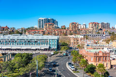 Woolloomooloo and Potts Point neighbourhoods view from above. Sydney, Australia - July 3: Woolloomooloo and Potts Point neighbourhoods with historic Stock Images