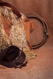 Woolly chaps, hat, lariat and spurs. Antique angora woolly cowboy chaps, old worn hat with mangled feather, a lariat and rusty spurs against burlap. Possible Royalty Free Stock Photography