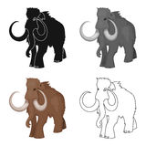 Woolly mammoth icon in cartoon style isolated on white background. Stone age symbol stock vector illustration. Royalty Free Stock Photo