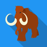 Woolly mammoth icon in flate style isolated on white background. Stone age symbol stock vector illustration. Stock Photos