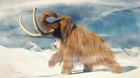 Woolly mammoth, prehistoric animal in frozen ice age landscape 3d illustration. Huge ice age animal in frozen wilderness, 3d illustration stock illustration