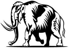 Woolly mammoth woodcut style Royalty Free Stock Photo