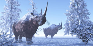 Woolly Rhino. Males keep each other company during a snowy winter in the Pleistocene Period stock illustration