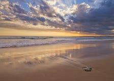 Woolmai kipieli plaży zmierzch Fotografia Stock