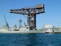 Hammerhead crane in Wooloomooloo. Wooloomooloo naval base and crane royalty free stock images