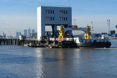 Woolwich Ferry. Crossing on the river Thames Royalty Free Stock Photography