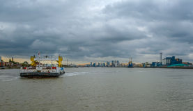 Woolwich ferry crossing the River Thames. Royalty Free Stock Photography