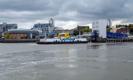 Woolwich ferry about to depart and cross the River Thames, Londo Stock Image