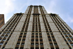 Woolworth Building. Looking up at the towering Woolworth building in lower Manhattan Royalty Free Stock Photos