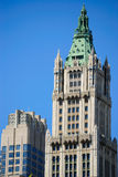 Woolworth Building. The neogothic Woolworth building with a smaller adjacent building Royalty Free Stock Images