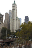 Woolworth Building. View of the Woolworth Building in New York from the end of the Brooklyn Bridge stock photography