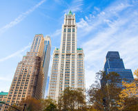 Woolworth Building Manhattan. NEW YORK CITY - NOVEMBER 9, 2013: View of historic Woolworth Building in lower Manhattan. This landmark building was completed in Stock Photo