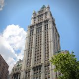 Woolworth Building. NEW YORK, USA - JULY 5, 2013: Woolworth Building exterior view in New York. Woolworth Building was the tallest in the world from 1913 to 1930 Stock Images