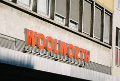 Woolworth department store. BERLIN, GERMANY - MAY 11, 2017: Woolworth department store trademark brand logo at Wilmersdorfer Strasse in Berlin Charlottenburg Stock Photography
