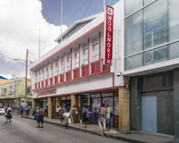 Woolworth Department Store in Bridgetown, Barbados. BRIDGETOWN, BARBADOS, 21 DECEMBER 2015 - Shoppers outside Woolworth department store in Bridgetown, Barbados Royalty Free Stock Image