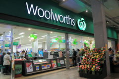 Woolworths Supermarket Australia. People shop at Woolworths Supermarket stock photo