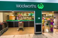 Woolworths supermarket in Box Hill, Melbourne. Woolworths is Australia's largest supermarket chain with over 900 stores nationally. This is the entrance to the stock photo