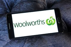 Woolworths Supermarkets logo. Logo of Woolworths Supermarkets on samsung mobile. Woolworths is an Australian supermarket grocery store chain owned by Woolworths Royalty Free Stock Photos