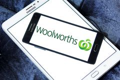 Woolworths Supermarkets logo. Logo of Woolworths Supermarkets on samsung mobile. Woolworths is an Australian supermarket grocery store chain owned by Woolworths Royalty Free Stock Image