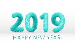 Wooly blue hairy shaggy wool 2019 Happy New Year. white background. Vector illustration art. Wooly blue hairy shaggy wool 2019 Happy New Year. white background stock illustration