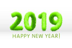 Wooly green hairy shaggy wool 2019 Happy New Year. white background. Vector illustration art. Wooly green hairy shaggy wool 2019 Happy New Year. white background vector illustration