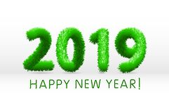 Wooly green hairy shaggy wool 2019 Happy New Year. white background. Vector illustration. Art stock illustration