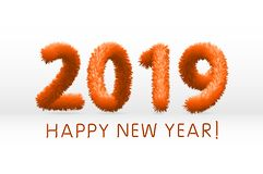 Wooly orange hairy shaggy wool 2019 Happy New Year. white background. Vector illustration art. Wooly orange hairy shaggy wool 2019 Happy New Year. white royalty free illustration