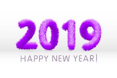Wooly purple hairy shaggy wool 2019 Happy New Year. white background. Vector illustration art. Wooly purple hairy shaggy wool 2019 Happy New Year. white stock illustration