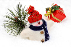 Wooly Snowman in Snow Royalty Free Stock Photo
