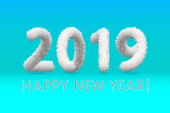 Wooly white hairy shaggy wool 2019 Happy New Year. blue background. Vector illustration art. Wooly white hairy shaggy wool 2019 Happy New Year. blue background stock illustration
