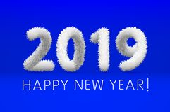 Wooly white hairy shaggy wool 2019 Happy New Year. blue background. Vector illustration art. Wooly white hairy shaggy wool 2019 Happy New Year. blue background vector illustration