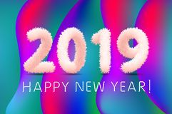 Wooly white hairy shaggy wool 2019 Happy New Year. colorful background. Vector illustration art. Wooly white hairy shaggy wool 2019 Happy New Year colorful vector illustration