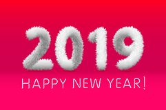 Wooly white hairy shaggy wool 2019 Happy New Year. pink background. Vector illustration art. Wooly white hairy shaggy wool 2019 Happy New Year. pink background royalty free illustration