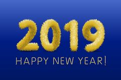 Wooly yellow hairy shaggy wool 2019 Happy New Year. blue background. Vector illustration art. Wooly yellow hairy shaggy wool 2019 Happy New Year. blue background stock illustration