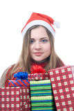 Wooman de Smilling con los giftboxes foto de archivo libre de regalías