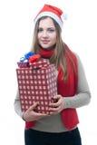 Wooman de Smilling con los giftboxes Imagen de archivo