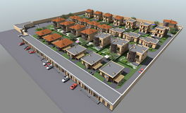 Woon 3D huis Stock Afbeelding