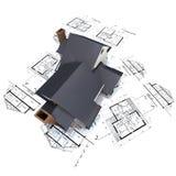 Woon huis op plannen 3 Stock Fotografie