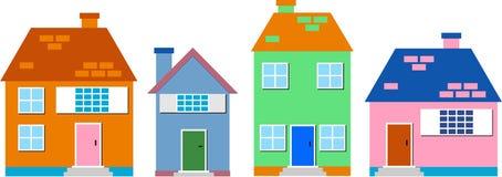 Woon huizen Stock Afbeeldingen