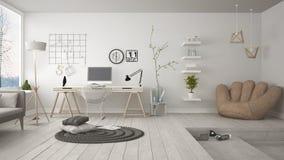 Woon multifunctionele zolder met de werkplaats van het huisbureau, sca royalty-vrije stock afbeelding