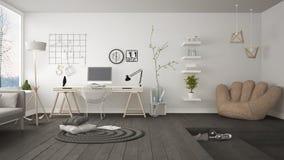 Woon multifunctionele zolder met de werkplaats van het huisbureau, sca royalty-vrije stock afbeeldingen
