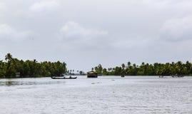 Woonboot op de rivier van Kerala, India Royalty-vrije Stock Foto's