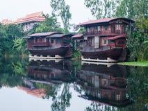 Woonboot in Tha Chin River Nakhonpathom Stock Foto
